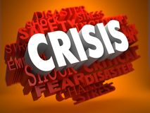Crisis Concept. Crisis - the Word in White Color on Cloud of Red Words on Orange Background Stock Photography