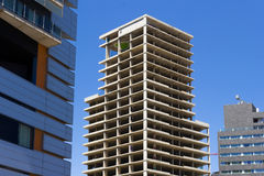 Crisis in construction. Unfinished skyscraper as a result of the economic crisis, Barcelona stock photo