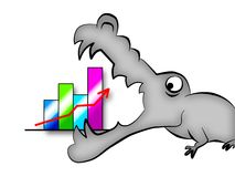 Crisis crocodile. On a white background the growth diagram is represented, the huge crocodile symbolising world crisis is going to swallow it Royalty Free Stock Photo
