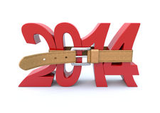 Crisis in 2014. 3D concept with tighten belt and number 2014 Vector Illustration