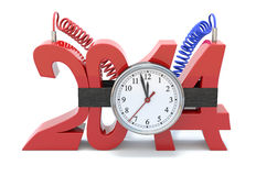 Crisis in 2014. 3D concept with time bomb and number 2014 Stock Photos