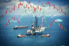 Crisis del poder y de la energía con el mercado de acción Foto de archivo