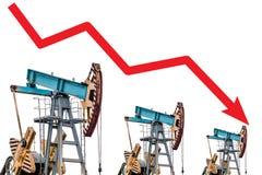 Crisis del precio del petróleo Ejemplo del gráfico de la caída de precios del aceite Imágenes de archivo libres de regalías