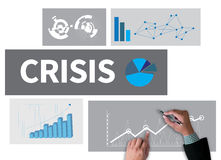 CRISIS  (Economics Financial  Risk Strategy ). Businessman work on white broad, top view Royalty Free Stock Photo