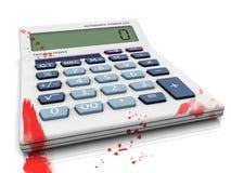 Crisis in economy blood. Crisis in economy blood calculator concept Stock Photo