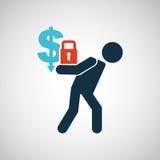 Crisis economy save money concept icon design. Vector illustration eps 10 Royalty Free Stock Photo