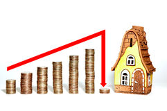 Crisis estate. Schedule collapse in the realty crisis Stock Photo