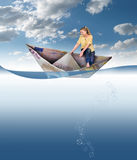 Crisis euro. Business woman sinking in a boat from Euro Paper. Concept. Illustration royalty free illustration