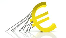 Crisis of Euro currency, rescue and support. Problem in europe Royalty Free Stock Image