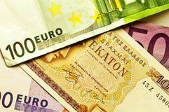 Crisis euro en griego Imágenes de archivo libres de regalías