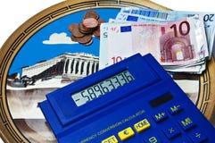 Crisis euro en griego Fotos de archivo libres de regalías