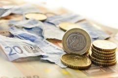 Crisis euro griega Imagen de archivo