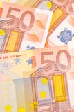 Crisis in euro-zone. Detail of  50-euro banknotes Royalty Free Stock Images