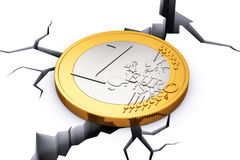 Crisis in European Union concept. Creative abstract financial crisis and recession in European Union corporate banking concept: 1 Euro coin tending to fall down Stock Photo