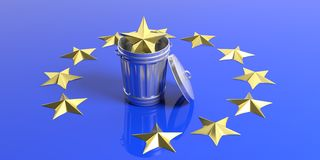Crisis in the European Union - Golden starl in a trash can on a EU flag. 3d illustration Stock Images