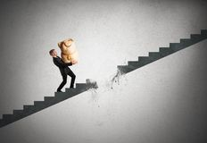 Crisis and failure concept. Concept of crisis and failure with interrupted stairs Stock Photo