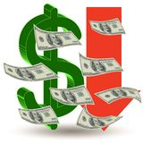 Crisis finance - the dollar symbol Royalty Free Stock Images