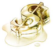 Crisis finance - the dollar symbol in melting gold. Fusion Royalty Free Stock Image