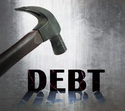 Crisis in financial situation. Debt and crisis in financial situation Stock Photos