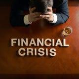Crisis financiera de la frase y hombre devastado fotografía de archivo libre de regalías