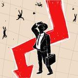 Crisis financiera en bolsa de acción Imagenes de archivo