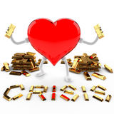 Crisis of fine gold. This 3D image of the character of the heart, fine gold crisis Stock Photo