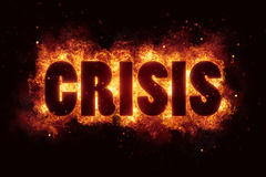 Crisis fire flames burn text explosion explode Stock Images