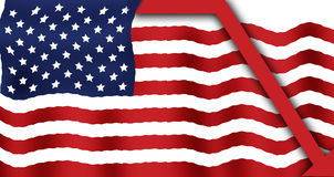 Crisis Flag. US Flag with falling down stripe stock illustration