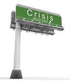 Crisis Freeway Exit Sign. High resolution 3D render of freeway sign, crisis next exit Stock Photography