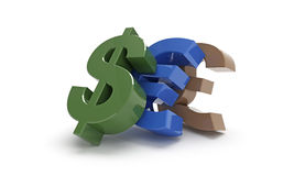 Crisis in global economy. 3d concept of dollar, euro, pound signs topple over each other Stock Photo