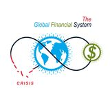 The Crisis in Global Financial System conceptual logo, unique ve. Ctor symbol. Banking system. The Global Financial System. Circulation of Money Stock Image