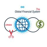 The Crisis in Global Financial System conceptual logo, unique ve. Ctor symbol. Banking system. The Global Financial System. Circulation of Money Stock Photos