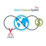 The Crisis in Global Financial System conceptual logo, unique ve. Ctor symbol. Banking system. The Global Financial System. Circulation of Money Royalty Free Stock Photo