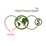 The Crisis in Global Financial System conceptual logo, unique ve. Ctor symbol. Banking system. The Global Financial System. Circulation of Money Royalty Free Stock Photography