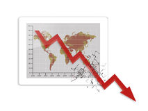Crisis globale tablet Stock Foto