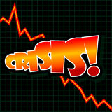 Crisis Graph. Abstract vector illustration of a downward graph with text Crisis Royalty Free Stock Images