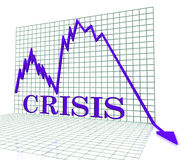 Crisis Graph Represents Hard Times And Calamity 3d Rendering Royalty Free Stock Photography