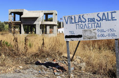 Crisis in Greece. RHODES - JULY 28: The Greek economic crisis felt everywhere. The picture shows an unsaleable property. The investor is likely to bankrupt on Stock Photography