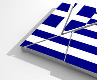 Crisis greece. Crisis in Greece Illustration with broken flag of Greece royalty free illustration