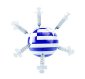 Crisis in Greece, donor aid money injections. On a white background Royalty Free Stock Image