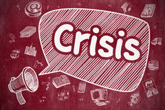 Crisis - Hand Drawn Illustration on Red Chalkboard. Royalty Free Stock Image