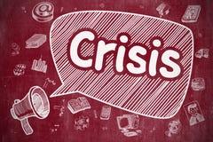 Crisis - Hand Getrokken Illustratie op Rood Bord royalty-vrije illustratie
