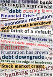 Crisis Headlines. Wallpaper design of newspaper headlines related to debt crisis, economic recession and market crashes Royalty Free Stock Image