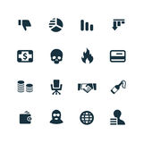 Crisis icons set Stock Photos