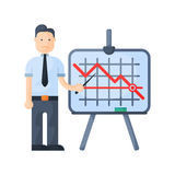 Crisis man concept problem economy banking character business arrow finance icon vector. Crisis man concept problem economy banking character business arrow Stock Images