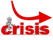 Crisis management. An illustrated view of the word crisis and a cartoon character pondering how to deal with the crisis Royalty Free Stock Photo