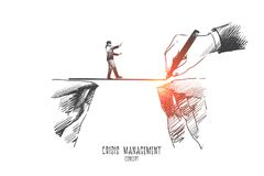 Crisis management concept. Hand drawn vector. Crisis management concept. Hand drawn businessman is walking on a rope, symbol of crisis time in bussiness royalty free illustration