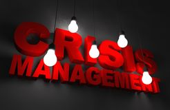 Crisis Management. Concept Illustration. Red Letters Illuminated by Hanging Bulbs Stock Photography