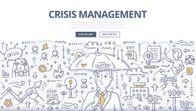 Crisis Management Doodle Concept. Doodle illustration of crisis manager with umbrella. Abstract concept of managing crisis, solving problems, handling emergency royalty free illustration