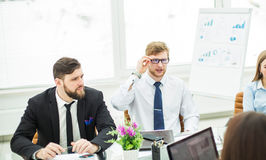 Crisis Manager and business team conducted a working meeting in a modern office Royalty Free Stock Photo